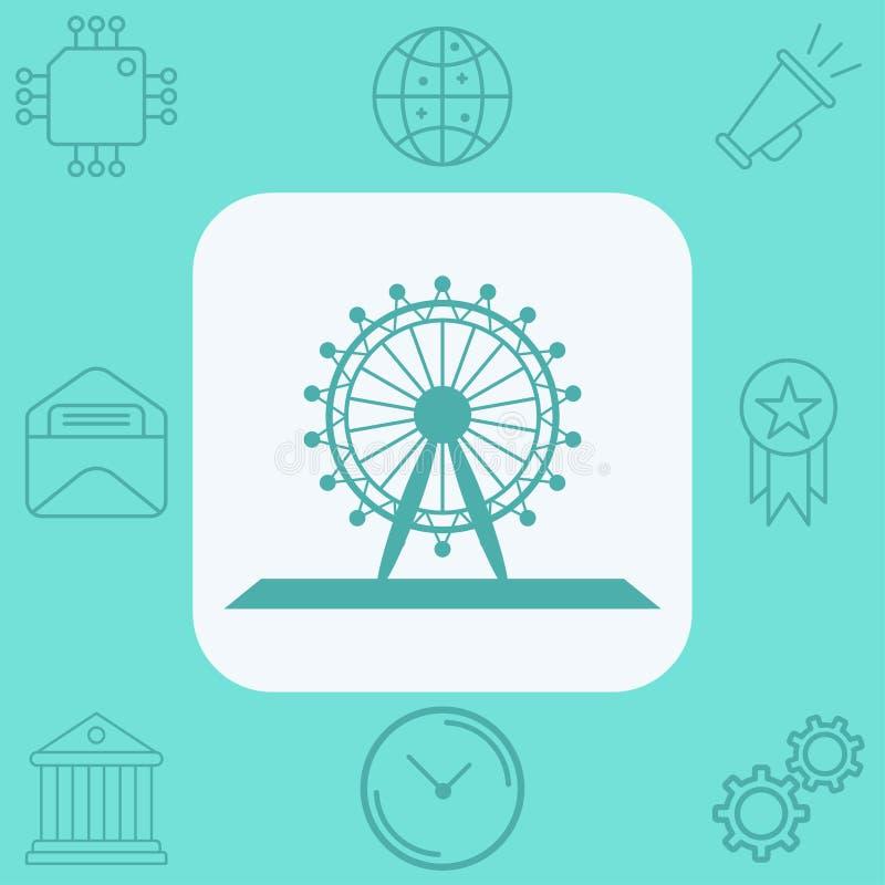 S?mbolo do sinal do ?cone do vetor da roda de Ferris ilustração do vetor