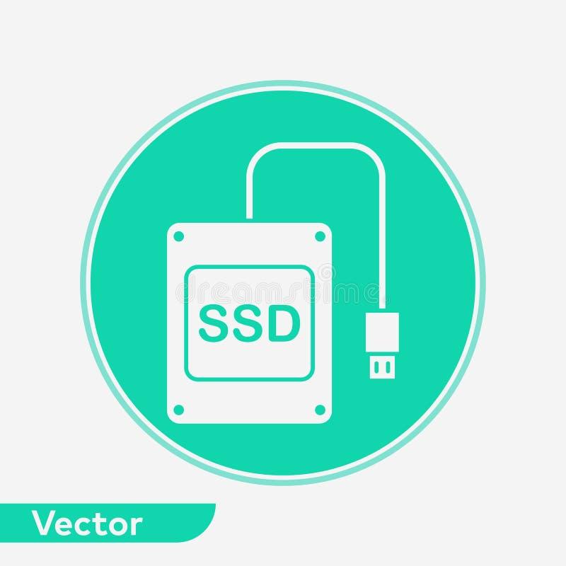 S?mbolo do sinal do ?cone do vetor do SSD ilustração stock
