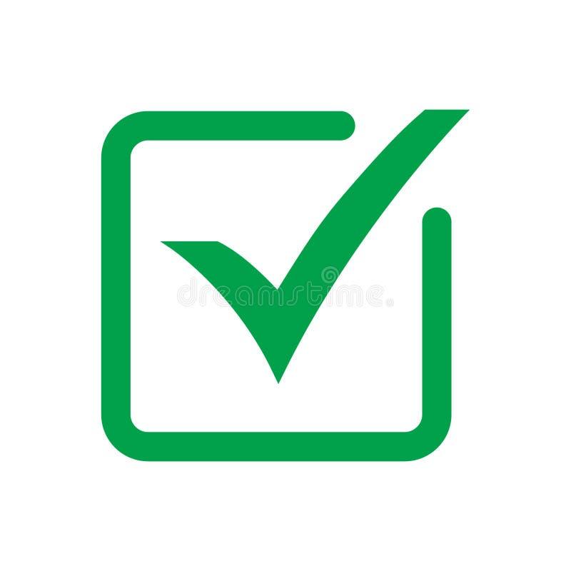 S?mbolo do vetor do ?cone do tiquetaque, sinal verde isolado no fundo branco, marca de verifica??o ou pictograma da caixa de sele ilustração royalty free