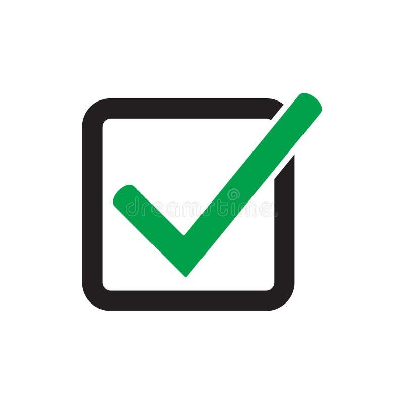S?mbolo do vetor do ?cone do tiquetaque, sinal verde isolado no fundo branco, marca de verifica??o ou pictograma da caixa de sele ilustração do vetor