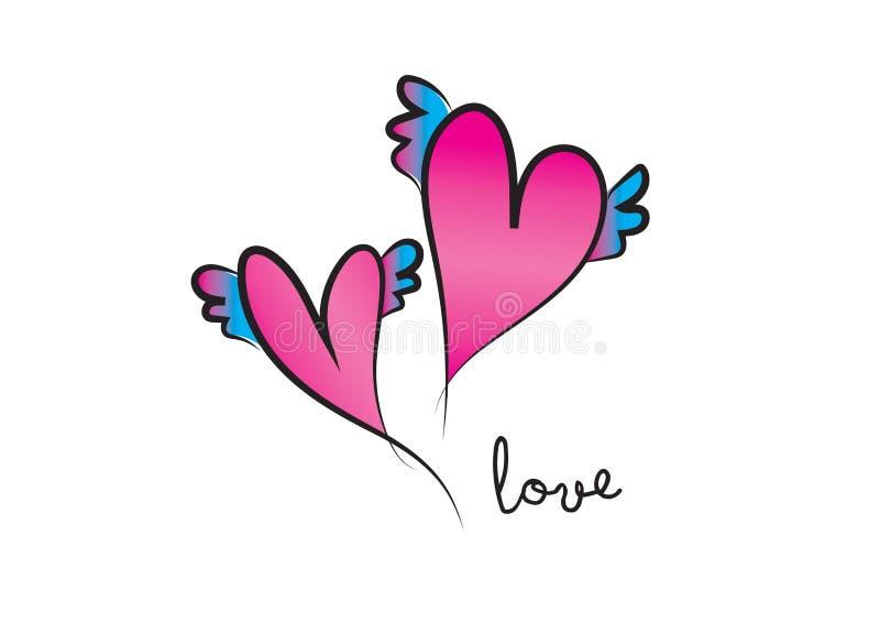 S?mbolo do vetor do cora??o projeto do logotipo do amor, logotype da fita do dia de Valentim ?cone do Web ilustração do vetor