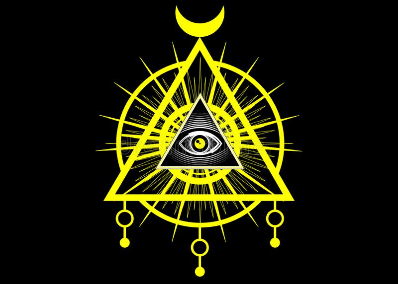 S?mbolo ma??nico sagrado Todo o olho de vista, o terceiro olho o olho do provid?ncia dentro da pir?mide do tri?ngulo Ordem mundia ilustração do vetor