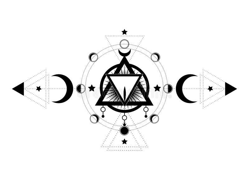 S?mbolo ma??nico A vagina sagrado dentro do ícone pagão da deusa da lua de Wicca da lua tripla Ilustra??o do vetor Tatuagem, a al ilustração do vetor