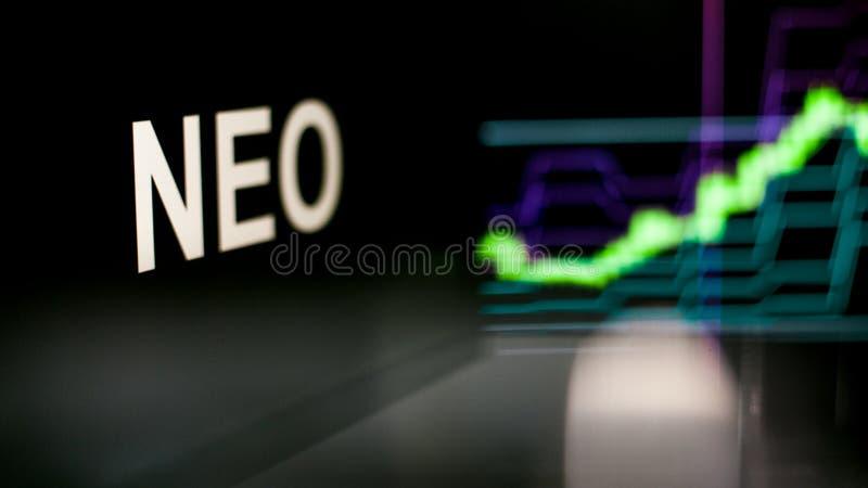 S?mbolo NEO de Cryptocurrency El comportamiento de los intercambios del cryptocurrency, concepto Tecnolog?as financieras modernas fotografía de archivo