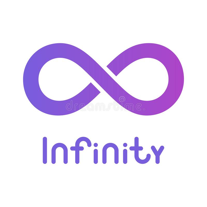 S?mbolo ou sinal da infinidade ?cone infinito logotipo ilimitado Isolado na obscuridade - fundo azul ilustração stock
