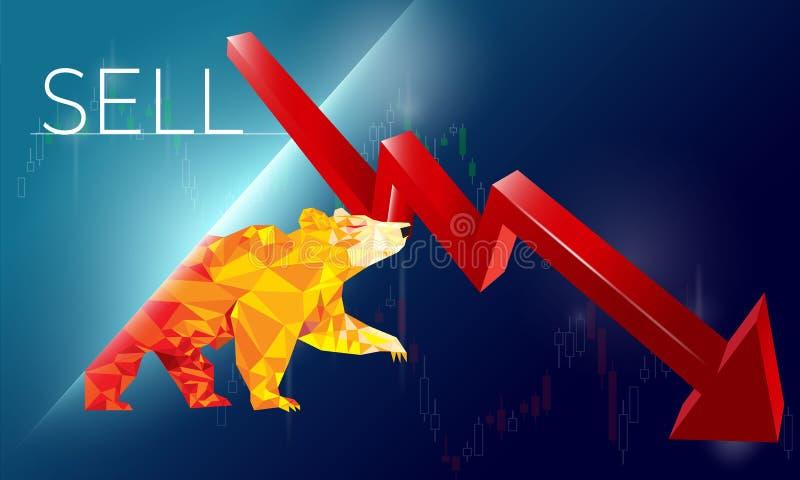 S?mbolos Bearish na ilustra??o do vetor do mercado de valores de a??o vector cartas dos estrangeiros ou da mercadoria, no fundo a ilustração royalty free