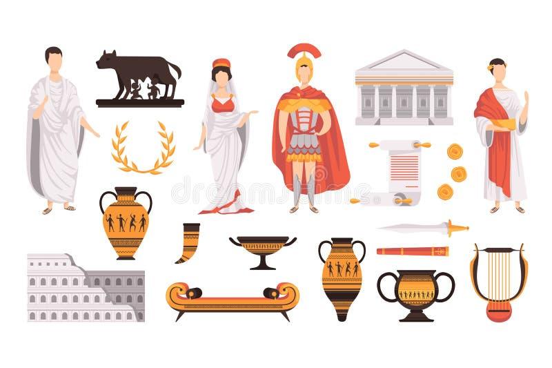 S?mbolos culturales tradicionales de los ejemplos determinados antiguos del vector de Roma en un fondo blanco stock de ilustración