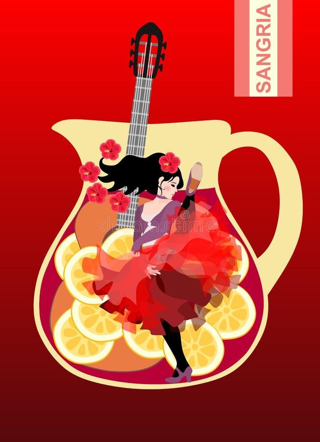 S?mbolos da Espanha Jarro com a sangria, a guitarra e a menina espanhola dançando provocatively o flamenco no fundo vermelho Cart ilustração royalty free