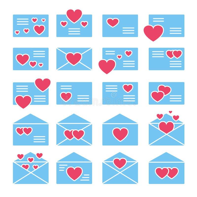 S?mbolos de cartas de amor Grupo liso do ?cone do vetor Correio do dia de Valentine's Envelopes abertos & fechados com cora??es ilustração do vetor
