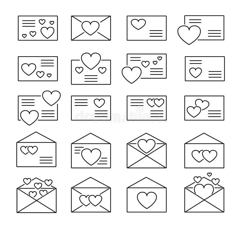 S?mbolos de cartas de amor Linha grupo do vetor do ?cone Correio do dia de Valentine's Envelopes abertos & fechados com cora??e ilustração stock