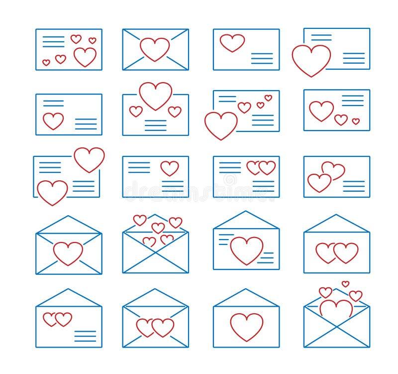 S?mbolos de cartas de amor Linha grupo do vetor do ?cone Correio do dia de Valentine?s Envelopes abertos & fechados com cora??es  ilustração royalty free
