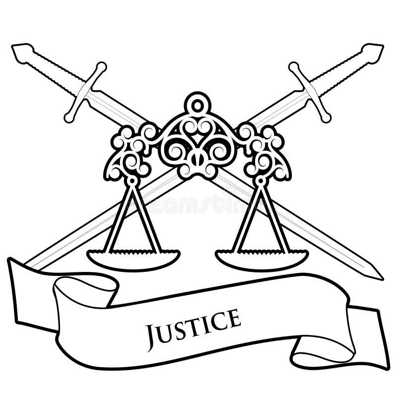 S?mbolos de justi?a A escala e dois cruzaram as espadas, isoladas no fundo branco Bandeira do texto ilustração stock
