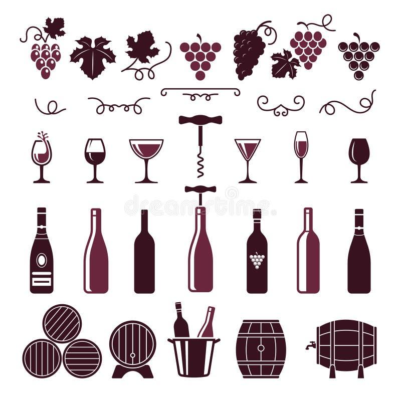 S?mbolos del vino La uva sale de las botellas de los zarcillos de la vid que los barriles vuelan en espiral vector estilizaron la stock de ilustración