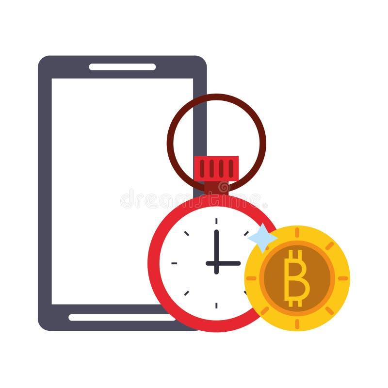 S?mbolos do investimento empresarial do cryptocurrency de Bitcoin ilustração stock