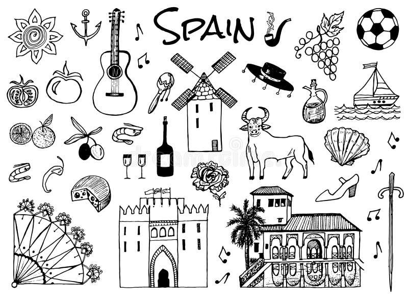 S?mbolos e objetos tradicionais espanh?is Ajuste dos sinais e dos ícones no estilo do vintage M?o desenhada Guitarra, futbol, mús ilustração stock