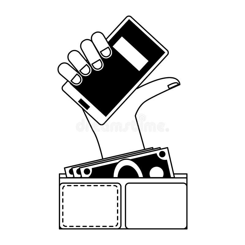 S?mbolos em linha da compra e das vendas em preto e branco ilustração do vetor