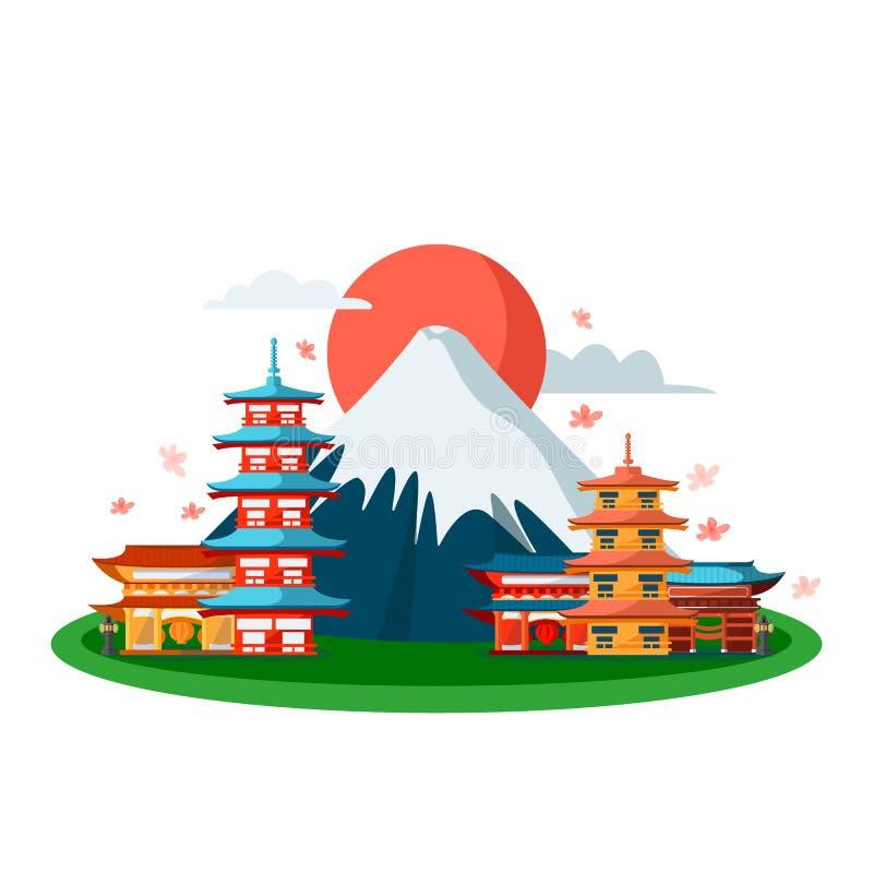S?mbolos japoneses Vector a ilustra??o dos desenhos animados, isolada no fundo branco Construções do pagode do Tóquio e montanha  ilustração do vetor