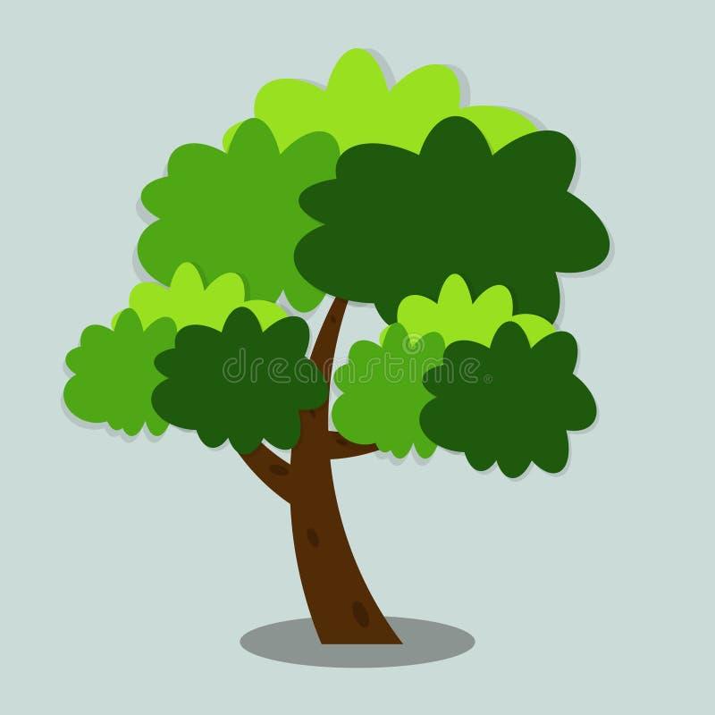 S?mbolos, verde con las hojas hermosas, ejemplo del icono del ?rbol del vector ilustración del vector
