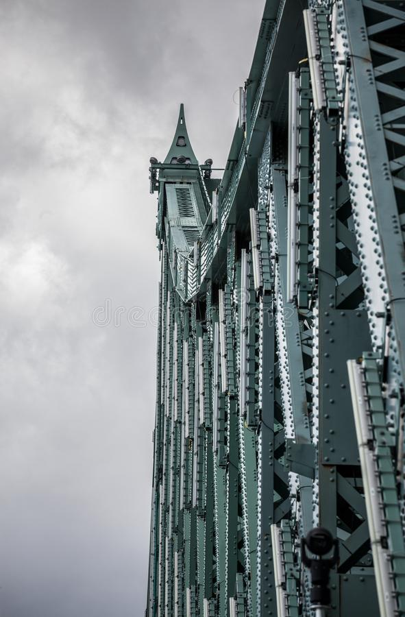 Detail of Pont Jacques Cartier bridge taken in Longueuil in the direction of Montreal, in Quebec, Canada, during cloudy afternoon stock photo