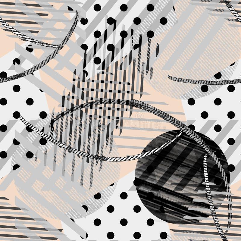 S?ml?s abstrakt bandmodell, prick som ?r rutig Grått, svart och beige vektor illustrationer