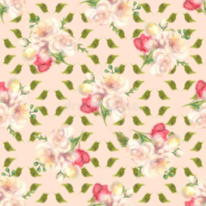 S?ml?s bakgrund f?r luddig blomma f?r vattenf?rg stock illustrationer