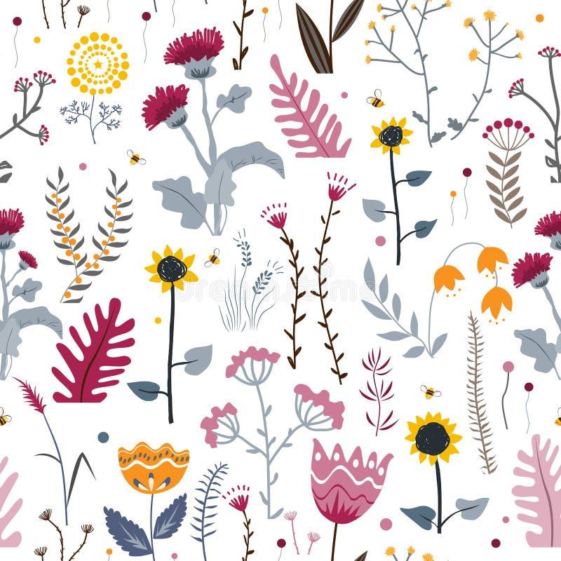 S?ml?s bakgrund f?r vektornatur med hand drog l?sa ?rter, blommor och sidor p? vit Klottra stil royaltyfri illustrationer