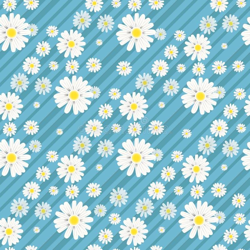 S?ml?s bakgrund med Daisy Flowers p? bl?tt ocks? vektor f?r coreldrawillustration stock illustrationer