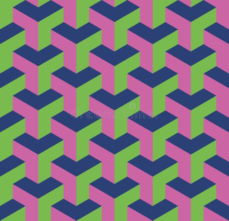 S?ml?s geometrisk modell 3D av ?verlappande kuber Abstrakt designvektorbakgrund i tre f?rger vektor illustrationer