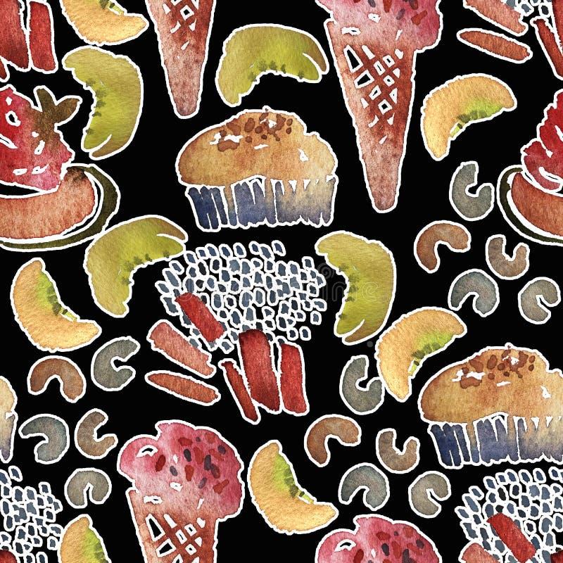 S?ml?s glassmodell Tryck för strand för sommar för vattenfärghand utdraget med isglassen och glass i en dillandekopp vektor illustrationer