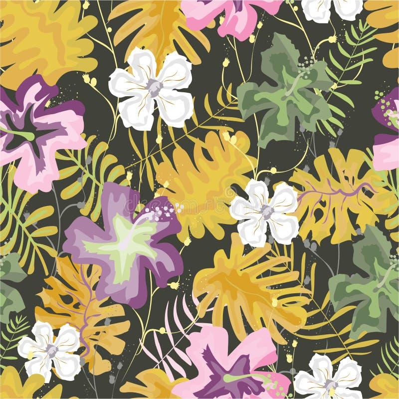 S?ml?s modell av tropiska blommor ocks? vektor f?r coreldrawillustration royaltyfri illustrationer