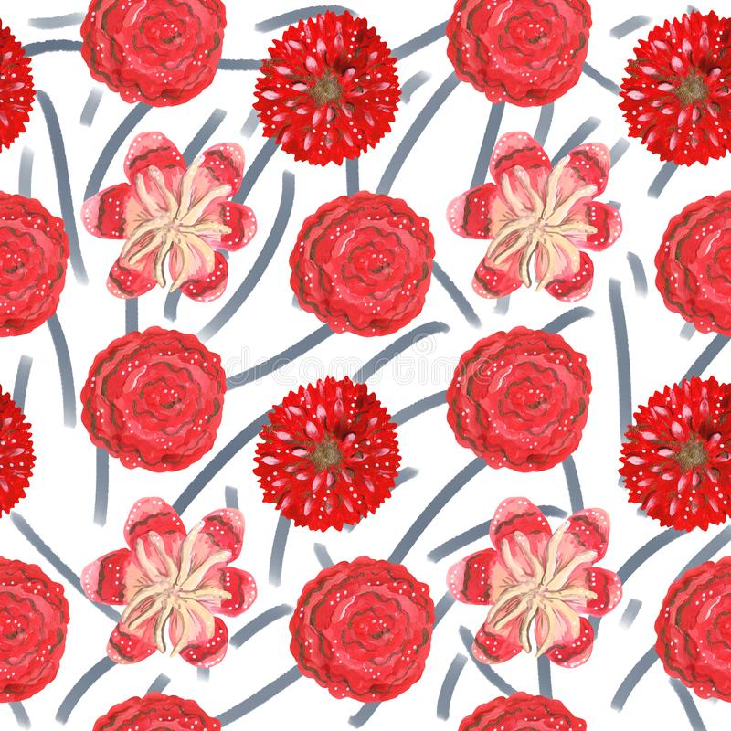 S?ml?s modell av tropiska f?r gouache r?da dekorativa och mexikanska blommor stock illustrationer