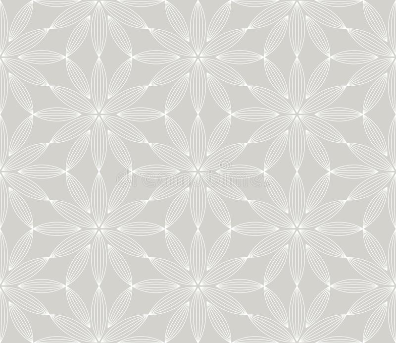S?ml?s modell f?r abstrakt enkel geometrisk vektor med den vita linjen blom- textur p? gr? bakgrund Ljust - gr?tt modernt stock illustrationer