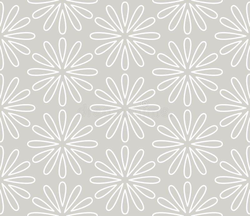 S?ml?s modell f?r abstrakt enkel geometrisk vektor med den vita linjen blom- textur p? gr? bakgrund Ljust - gr?tt modernt vektor illustrationer