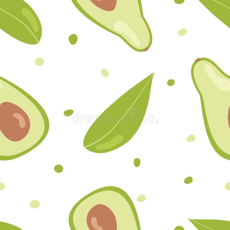 S?ml?s modell f?r avokado Sömlös modell för vektor med avokadot på vit bakgrund Gullig tecknad filmstil för illustration vektor illustrationer