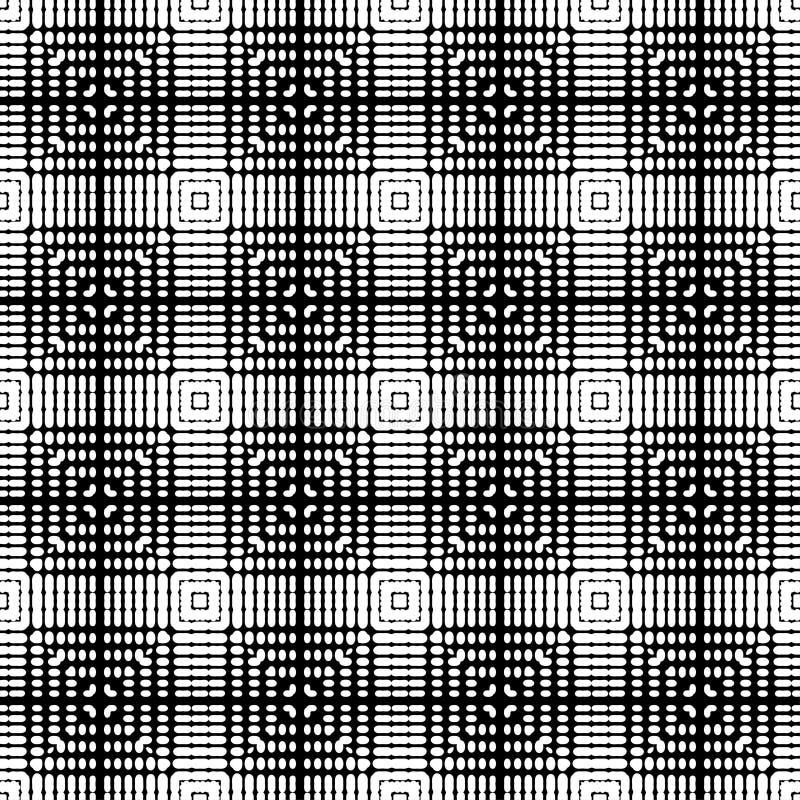 S?ml?s modell f?r etnisk boho Former av prickar och PIXEL Patchworktextur v?va traditionell prydnad stam- modell Folk mo vektor illustrationer