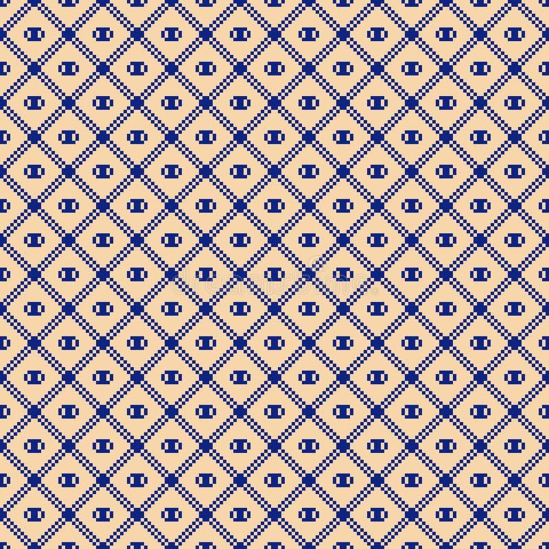 S?ml?s modell f?r fyrkantigt raster Bl? f?r vektor abstrakt och gul geometrisk textur royaltyfri illustrationer