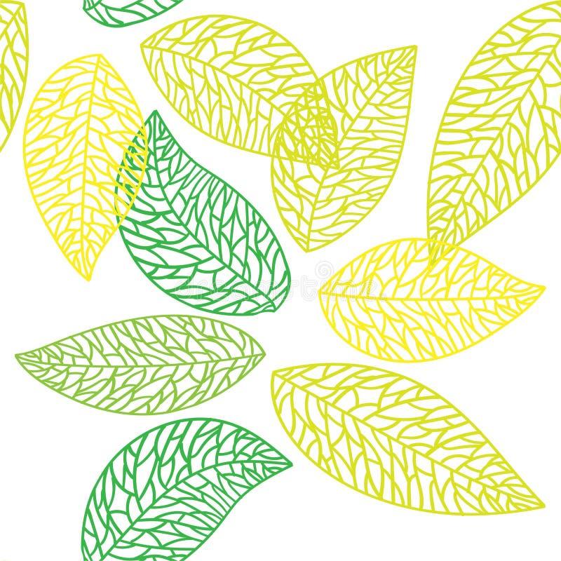 S?ml?s modell f?r gulligt vektorblad Abstrakt tryck med sidor Elegant h?rlig naturprydnad f?r tyg, inpackning och textil stock illustrationer
