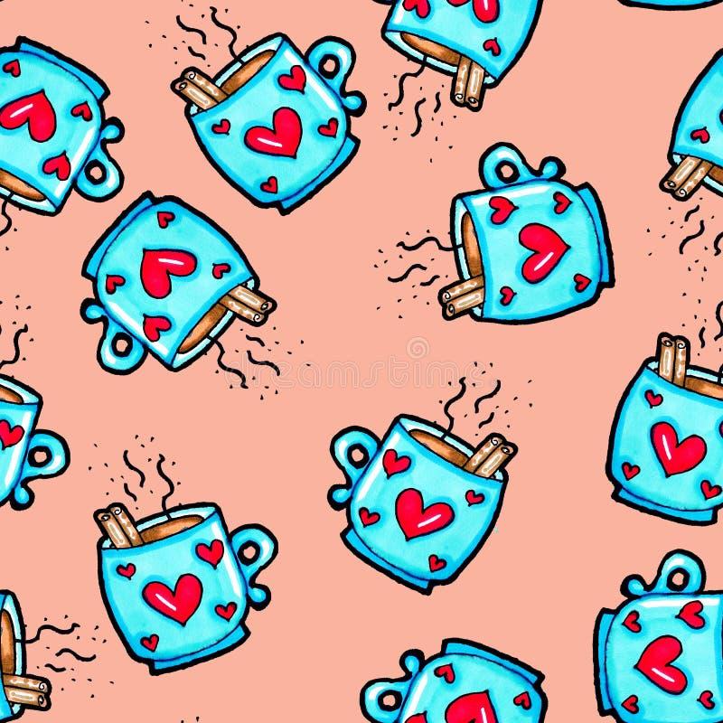 S?ml?s modell f?r jul som dras av handen Blå kopp med hjärtor på en rosa bakgrund Kaffe kakao, kanel nytt ?r stock illustrationer