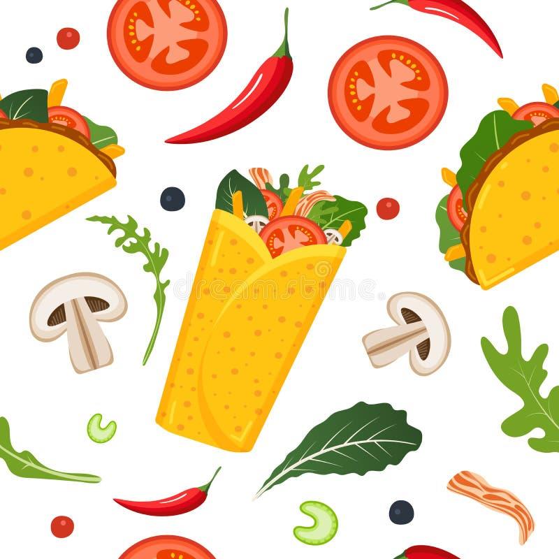 S?ml?s modell f?r mexicansk mat Burrito, taco, varm peppar och gr?n gr?nsallat F?rgrik bakgrund, gullig stil vektor royaltyfri illustrationer