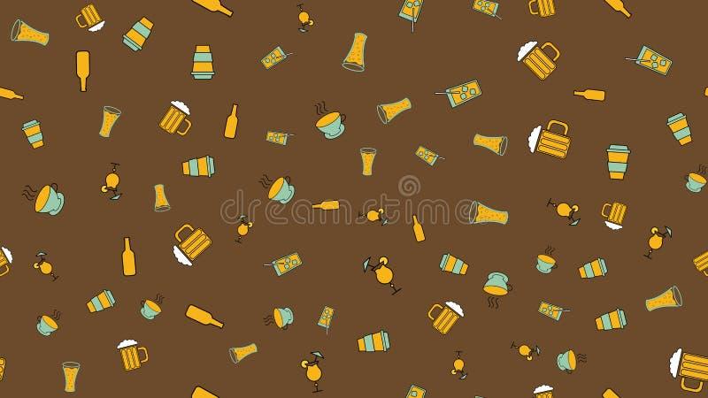 S?ml?s modell f?r textur fr?n en upps?ttning av raivy bra smakligt uppfriskande te f?r kaffe f?r ?l f?r alkoholdryckcoctailwhisky royaltyfri illustrationer