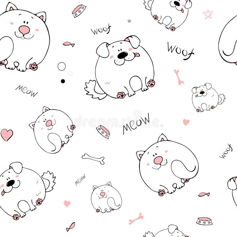 S?ml?s modell f?r vektor med hand-drog roliga gulliga feta djur Konturer av djur p? en vit bakgrund Rolig textur med katten stock illustrationer