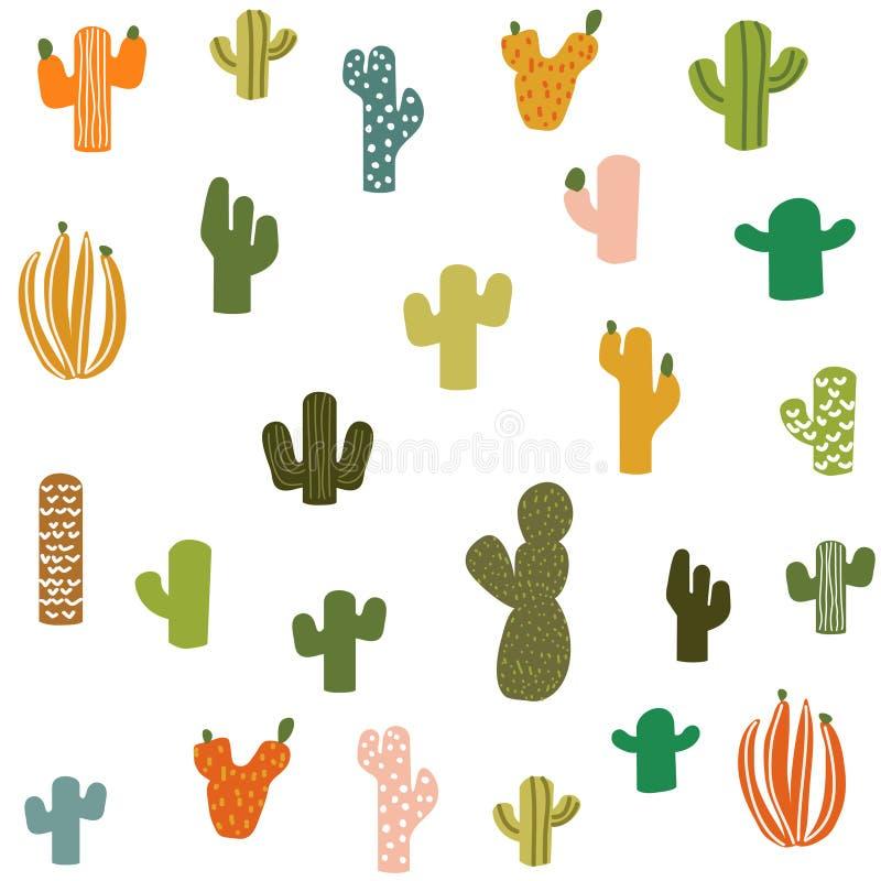 S?ml?s modell f?r vektorkaktusv?xt Kaktusblommabakgrund, tryck stock illustrationer