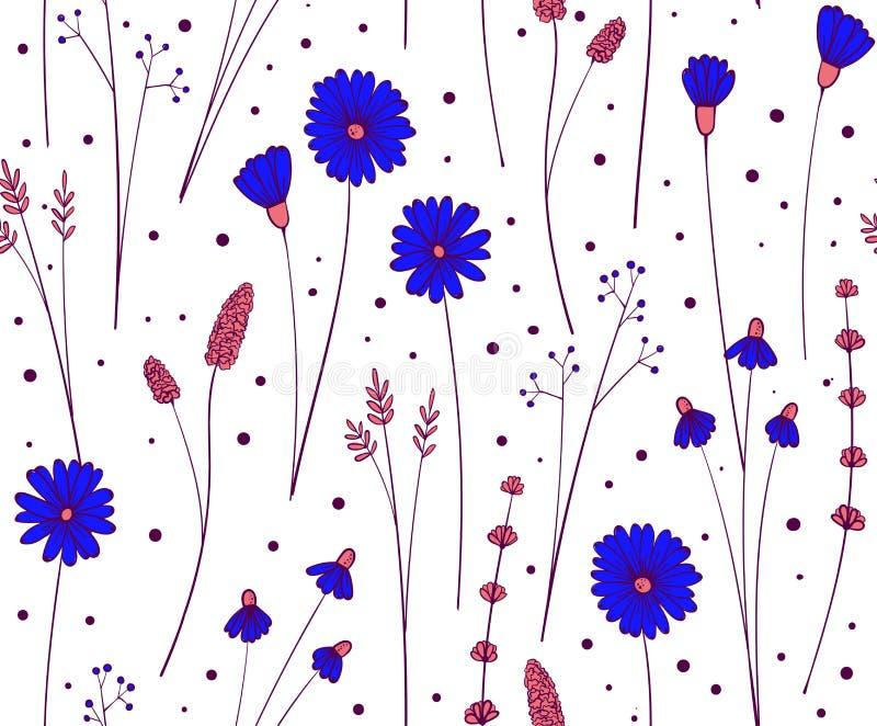 S?ml?s modell f?r vildblomma Blom- repetitionbakgrund Blommor och sidor smyckar f?r tyg stock illustrationer