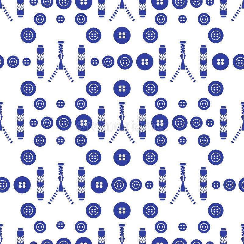S?ml?s modell med blixtl?set, knappar, tr?dar S?mnad- och needleworkbakgrund Mall f?r design, tyg, tryck royaltyfri illustrationer