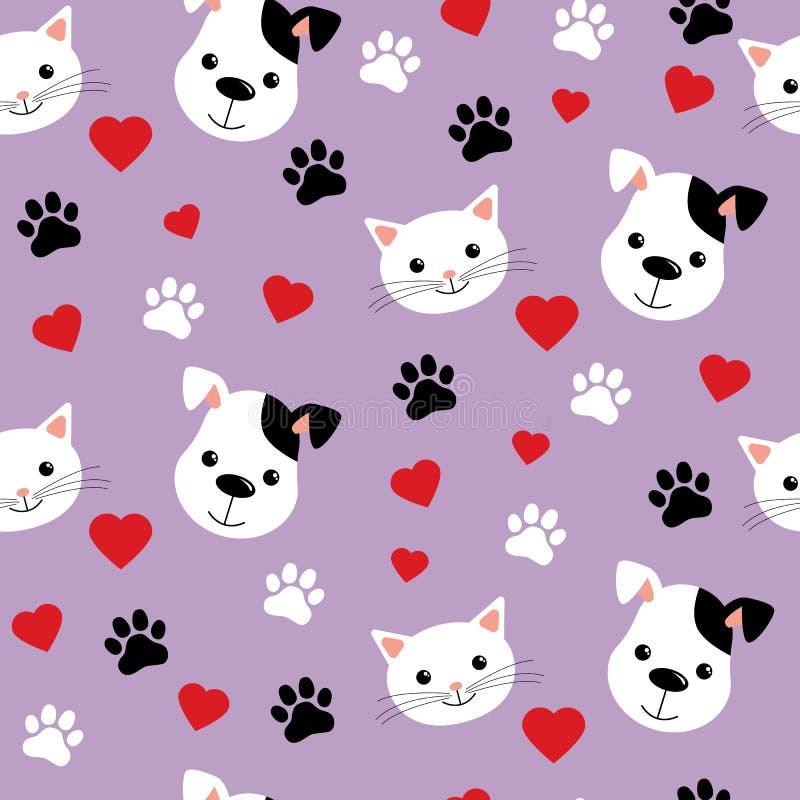 S?ml?s modell med gulliga katter och hundkappl?pning Älskvärd vektorillustration och design för tyger, textil, tapet och bakgrund royaltyfri illustrationer