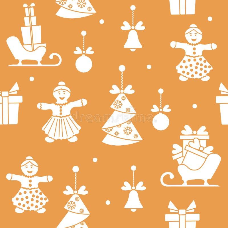 S?ml?s modell med jul och symboler f?r nytt ?r Julgranorigamin, pepparkakaman, s?tter en klocka p?, bollar, pulkor, g?vor royaltyfri illustrationer