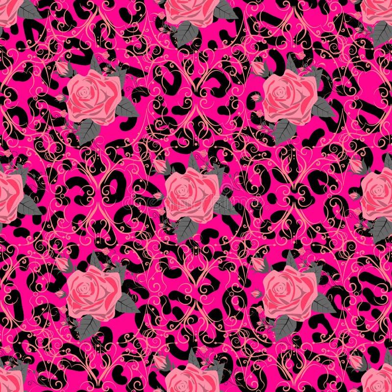 S?ml?s modell med leopardtrycket och rosor Vektorbakgrund med textur f?r djur hud och blomma F?r utskrift p? tyg royaltyfri illustrationer