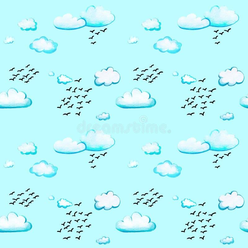S?ml?s modell med moln och f?glar royaltyfri foto