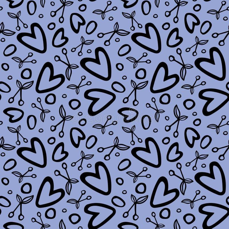 S?ml?s modell med romantiska best?ndsdelar f?r k?rsb?r och f?r hj?rta vektor illustrationer