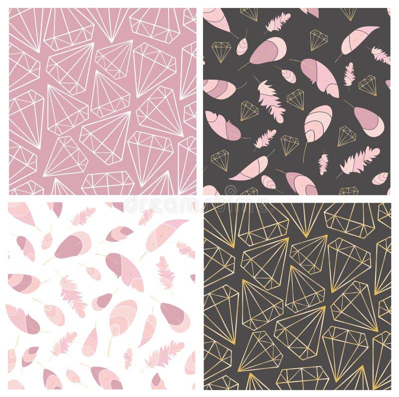 S?ml?s modellsamling f?r vektor Fjäder och diamanter, ädelstenar, kristaller Stilfullt moderiktigt, fashionnmodelluppsättning stock illustrationer